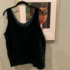 jcrew forest green velvet tank top